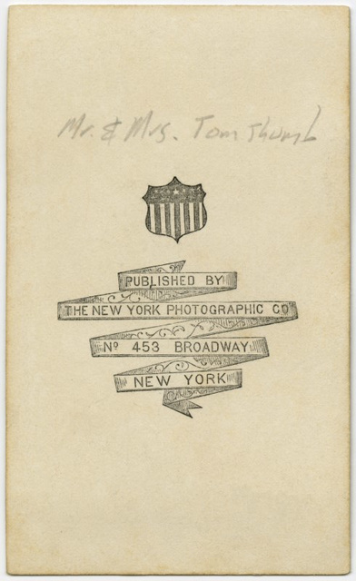 Mr. and Mrs. Tom Thumb in Their Wedding Attire (Back)