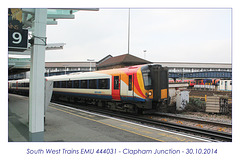 South West Trains EMU 444031 - Clapham Junction - 30.10.2014