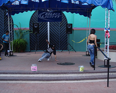 Bud Light Spanish girl in high heels and rap dance performance.