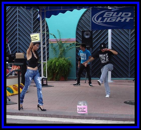 Bud Light Spanish girl in high heels and rap dance performance.