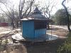 Blue booth among cuban shadows