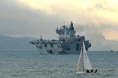 Amphibious Assault/Helicopter Landing ship HMS Ocean (L12) in Weymouth Bay