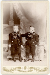 Twin Boys with Bows, Reading, Pa., 1890s