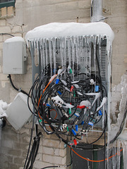 Colorful display of icicles of mess of Comcast.