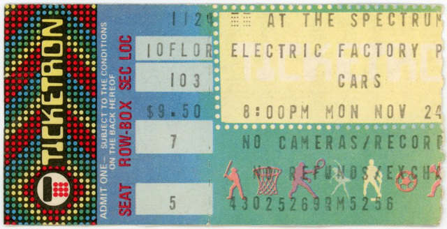 The Cars, Philadelphia, Pa., Nov. 24, 1980