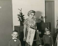 Easel and Paintbrushes, Kindergarten Class, Baltimore, Md., 1965-66