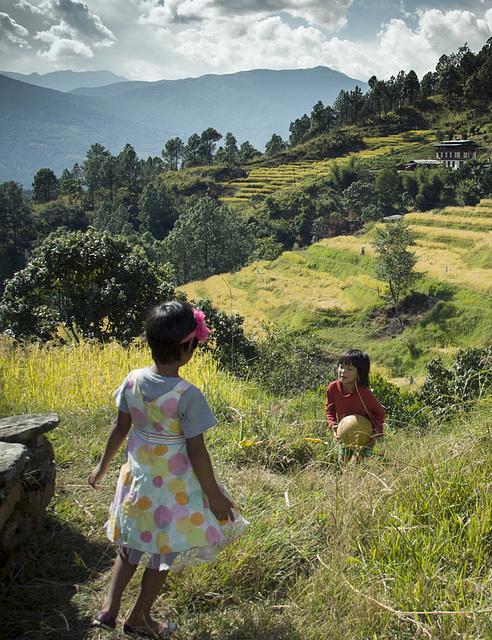 Sonam & her cousin in Shengana valley, Punakha