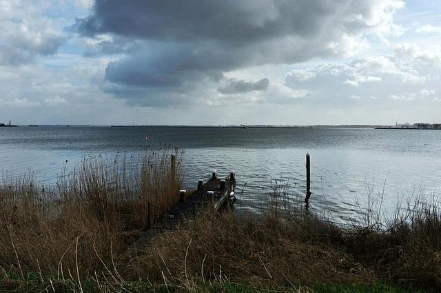 waterverf aan de Waterlandse zeedijk