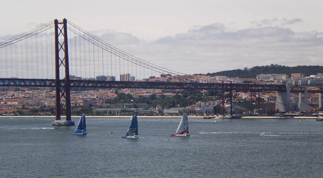 Sailing off from Lisbon to Dún Laoghaire - a view from Almada.