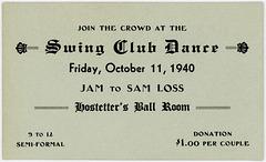 Swing Club Dance Ticket, Hostetter's Ball Room, October 11, 1940