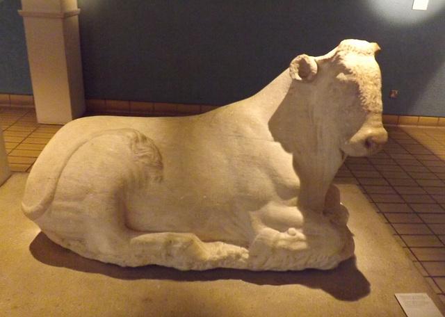 Marble Figure of Recumbent Bull British Museum May 2014
