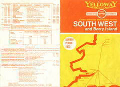Yelloway/Associated Motorways Holiday Express Services timetable - Summer 1973 (Pages 4 and 1)