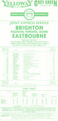 Yelloway and joint operators North West-Eastbourne holiday express timetable - Summer 1972
