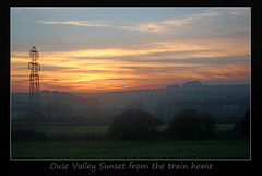 Sunset from the train near Southease - 30.10.2014