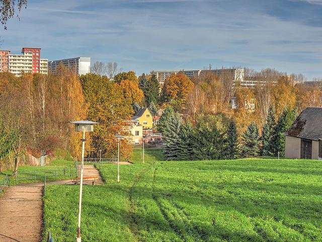 Herbstlicher Blick auf Markersdorf