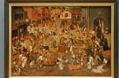 """""""Le combat de carnaval et carême"""" (Pieter Brueghel II)"""