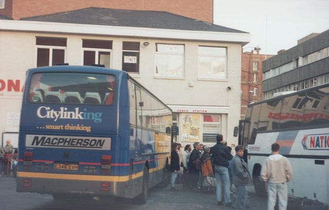 MacPherson Coaches (Scottish Citylink contractor) E346 EVH in Leeds - 19 Oct 1991