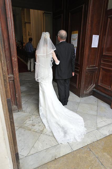 The start of a Gibraltar wedding, near the shop Isolabella