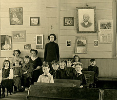 Students and Teacher in a One-Room Schoolhouse, March 1911 (Middle)
