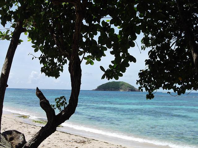 Anse Cosmy, Martinique, avec vue sur l'îlet Saint-Aubin.