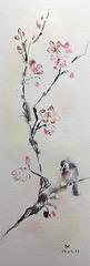 Aquarelle et encre de chine  : Japon au printemps