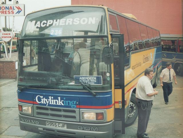 MacPherson Coaches (Scottish Citylink contractor) D555 CJF in Leeds - 17 Oct 1991