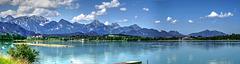 Forggensee. Blick Richtung Füssen und zu den Bergen. ©UdoSm