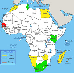 Africa Political Map of Visited Nations