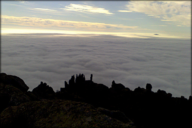 La Sierra de La Cabrera  in fog.