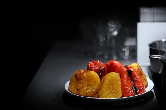 Paprika vor dem Häuten
