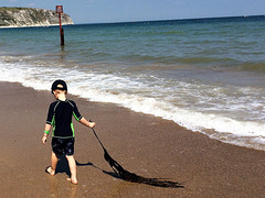 Boy and pet seaweed.