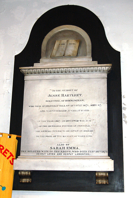 Memorial to Jesse and Sarah Bartleet of Graveley  Hill, Birmingham in Saint Margaret's Church, Ward End, Birmingham