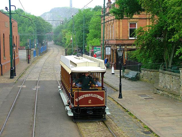Blackpool & Fleetwood Tram No.2 at Crich Tram Museum 14th June 2006