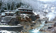 Japan, Hot spring Korakukan Guest House (Ryokan) in the Valley of Yokoyu River