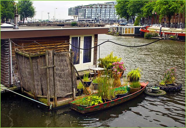 Amsterdam : casa galleggiante con giardino - (538)