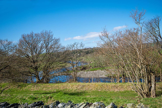 The River Dee from the graveyard wall of Llangar Old Church