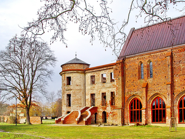 Dargun, Kloster- und Schlossruine, Südwestturm und Kirche