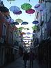 Hovering umbrellas.
