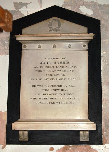 Monument to John Harris, Land Agent, Saint Margaret's Church, Ward End, Birmingham