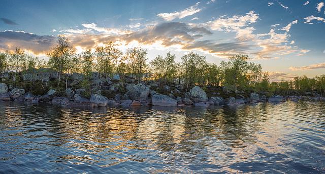 Midnight on on Lake Inari