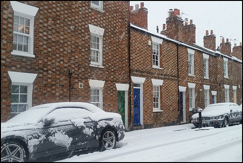 snow in an English street
