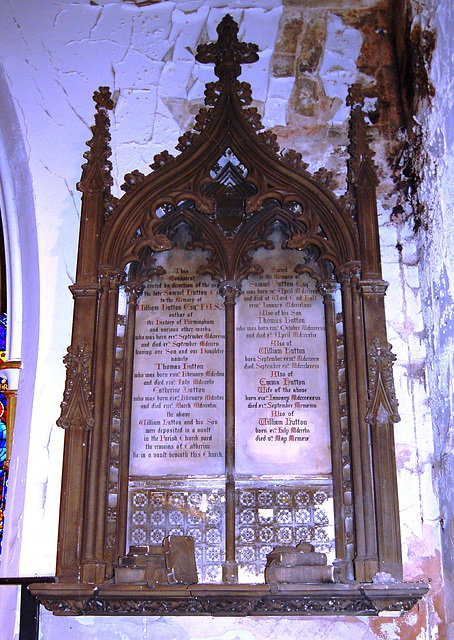 Monument to the historian and author, William Hutton and other members of the Hutton family, St Margaret's Church, Ward End, Birmingham