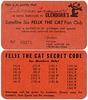 Felix the Cat Fan Club Membership Card and Secret Code