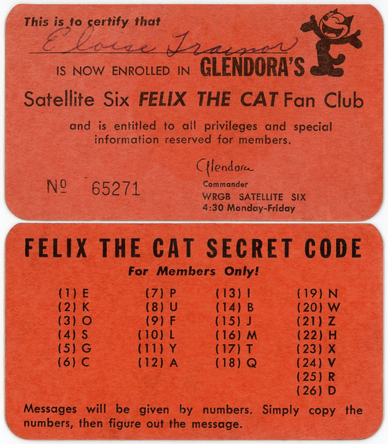 Felix the Cat Fan Club Membership Card and Secret Code