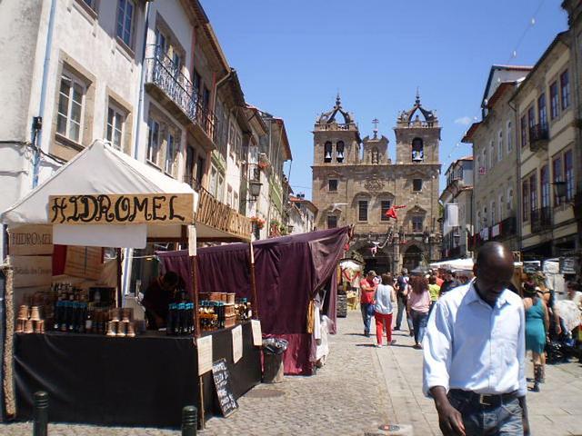 Outdoor market stalls.