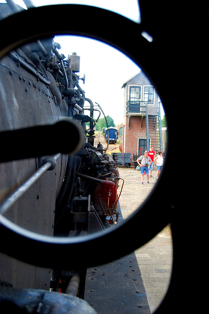 Drivers view from the cab of German Kriegslok 52 8060-7  as the train is about to start from Stadskannal.