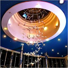 Oggetti appesi : notturno al Marina Mall in Abu Dhabi - una coreografia molto elegante scende dalla cupola dell'edificio .