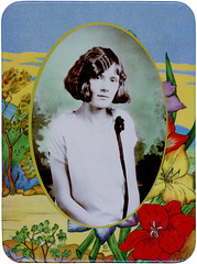 Woman's Photo on a Colorful Celluloid Plaque, ca. 1927