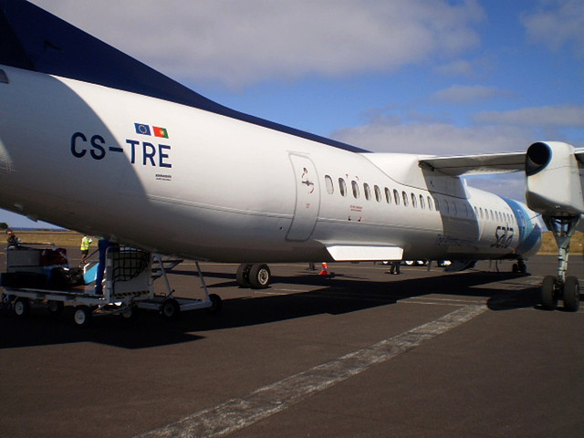 """Teófilo Braga"" - the SATA aircraft just arrived from Ponta Delgada to Graciosa Island."