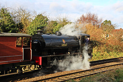 Austerity 0-6-0ST  Saddle Tank no 68067 awaits a signal to enter Loughborough